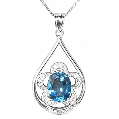 SheColour Natural 3.00 Carats Sky Blue Topaz 8x10 Oval Gemstone Pendant 925 Sterling Silver Necklace