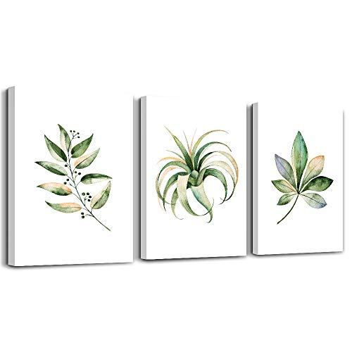 3 Piece Framed Watercolor Painting Canvas Wall Art for Living Room Modern Bathroom Wall Decor for Bedroom Artwork Home Decorations Green Leaves Plants Canvas Prints Posters Kitchen Picture Art Works