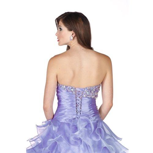 mit Abendkleid bodenlangen Lila Ballkleid BRIDE GEORGE Lila Applikationen Organza Liebsten Perlen Y0TBAn