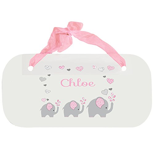Personalized Pink Elephant Nursery Door Hanger Plaque with Pink Ribbon
