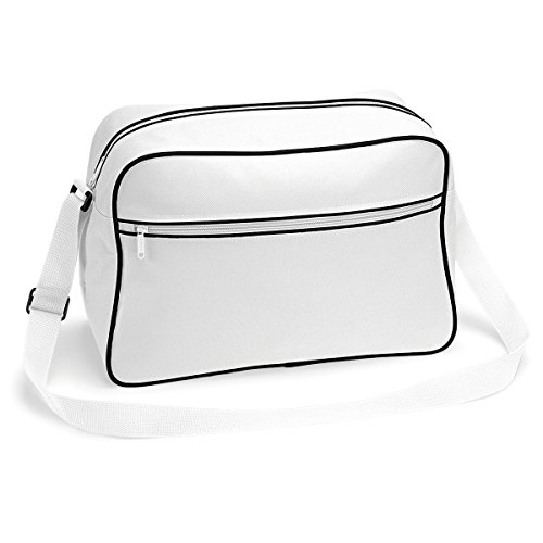 Bolso BagBase regulable con bandolera retro 48x28x18cm 18L brillante blanco real White/ Black