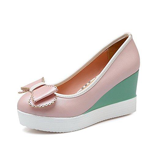 Allhqfashion Womens Pull-on Tacchi Alti Tacchi Alti Pu Pompe-scarpe Rosa