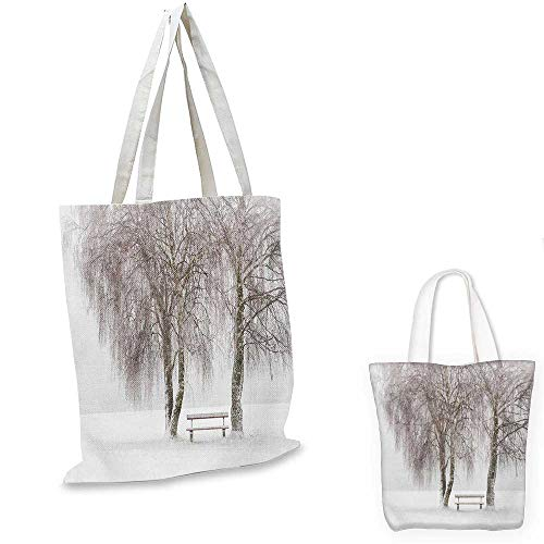 Winter easy shopping bag Bench in the Park on a Snowy Cold Winter Day in Storm Wind Blizzard Holiday Picture emporium shopping bag White Brown. 16