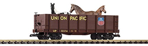 (Piko Union Pacific High-Side Gondola with Horses G Gauge 38725 UP)