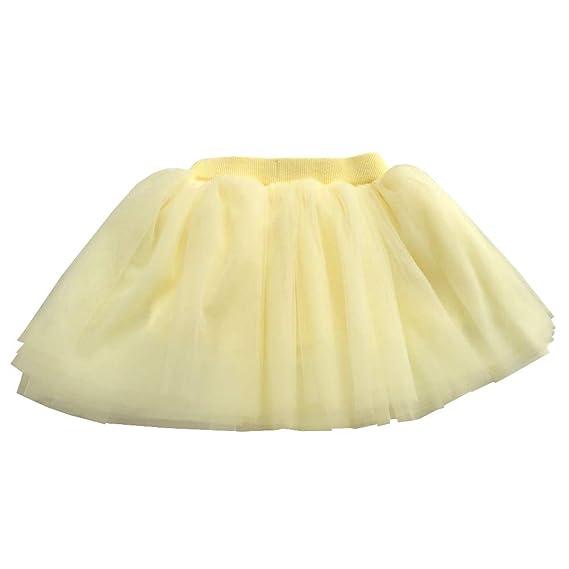 SXSHUN Falda de Tutú para Niñas Vestido de Tul 4 Capas Tutú Suave ...