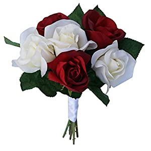 Red & Ivory Silk Garden Rose Stems- Wedding Bouquets for Bride - Bridal Bouquets for Wedding - Fake Wedding Flowers (Small) 88