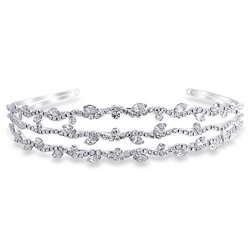 Bling Jewelry Triple Row Leaf Crystal Bridal Tiara Headband Silver Plated from Bling Jewelry
