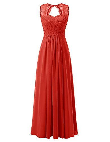 ALAGIRLS Women's Lace Straps Chiffon Bridesmaid Dresses Long Wedding Party Gowns Red US20Plus