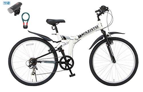 【カーブランド ローバー フロントライトカギSET】KAZATO(カザト)26インチシマノ6段変速スチール製 折りたたみ自転車 マウンテンバイク MKZ-266 ホワイト B01NBDRR4E