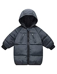 Kids Down Coats Hooded Jackets Winter Warm Zipper Outerwear for Boys and Girls