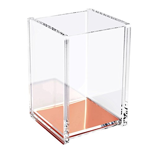 Pen Pencil Holder Cup (Zodaca [Deluxe Acrylic Design] Soft Touch Square Pen Pencil Ruler Holder Cup Desktop Stationery Organizer, Clear/Rose Gold)