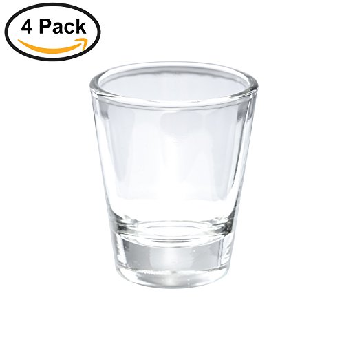 Thirsty Rhino Karan, Round 1.5 oz Shot Glass with Heavy Base, Clear Glass, Set of 4