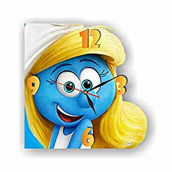 Art time production FBA The Smurfs - Smurfette 11.8'' Handmade Unique Wall Clock - Get Unique décor for Home or Office - Best Gift Ideas for Kids, Friends, Parents