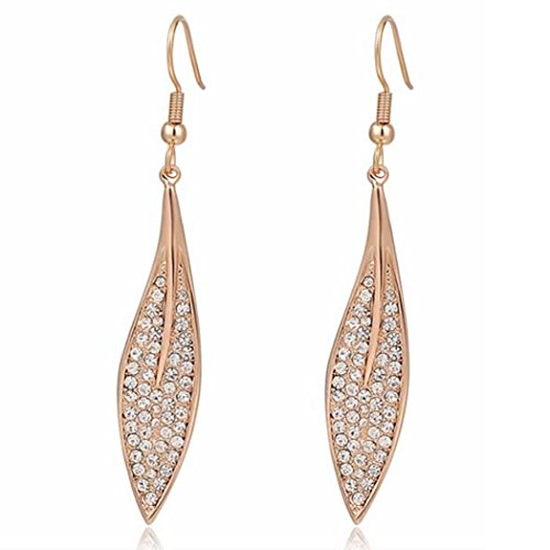 Price comparison product image Duo La Charm Leaf 18K Rose Gold Plated Cubic Zirconia Lady Elegant Dangle Earrings