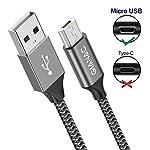 GIANAC-Cavo-Micro-USB4-Pezzi05m1m2m3m-Nylon-Cavo-USB-Micro-USB-Android-Trasferimento-Dati-e-Ricarica-Rapida-Compatibile-con-Samsung-S5S6S7-Huawei-HTCLGHTCKindle-PS4-Grigio