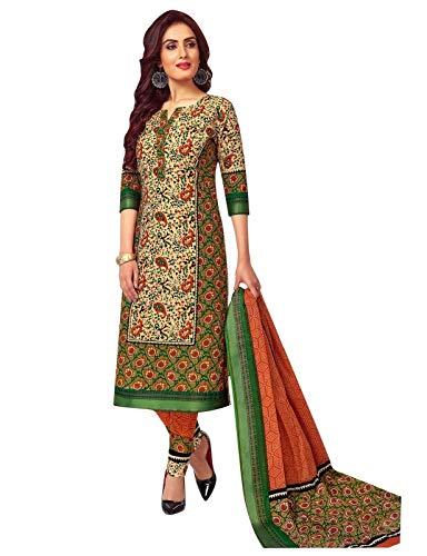 - Ladyline Cotton Garhwal Border Salwar Kameez Ethnic Printed Indian Casual Dress (Size_40/ Mahendi Green)