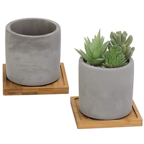 MyGift 3-Inch White Cement Succulent Planter Pots, Set of 2