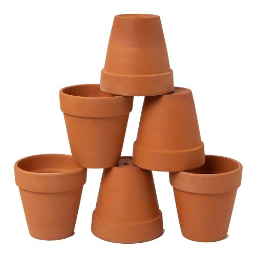 AHXML 6 Pcs 4 Terracotta Flowerpot with Drainage Hole for Indoor or Outdoor Plant Gardening