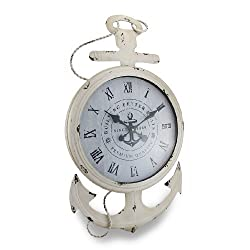 Things2Die4 Weathered White Finish Nautical Anchor Large Metal Wall Clock