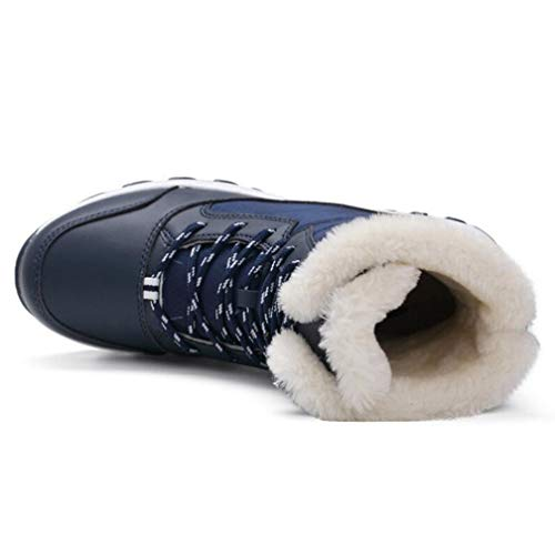New Women Boots Non-Slip Waterproof Winter Ankle Snow Boots Mother Winter Warm Snow Boots with Thick Fur Blue