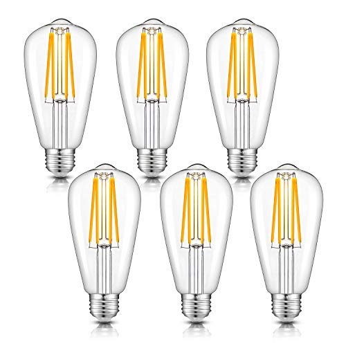 - CRLight 8W Dimmable LED Edison Bulb 80W Equivalent 2700K Warm White 800LM, E26 Medium Base Antique ST64 Lengthened Filament LED Bulbs, Smooth Dimming Version, 6 Pack