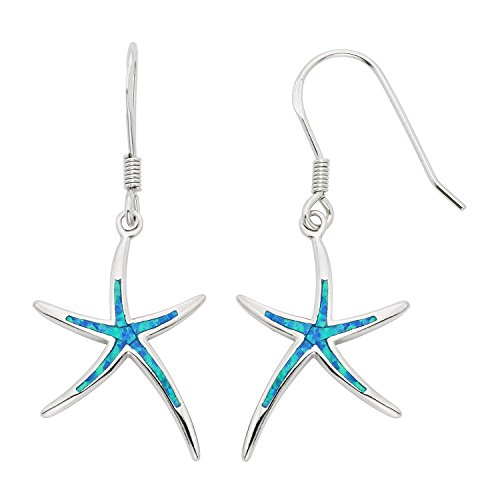 - Sterling Silver Created Blue Opal Starfish Dangling Earrings
