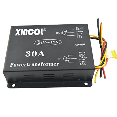 UXOXAS Vehicle Car DC 24V to 12V 30A Power Supply Transformer Converter with Fan Regulation-Black by UXOXAS