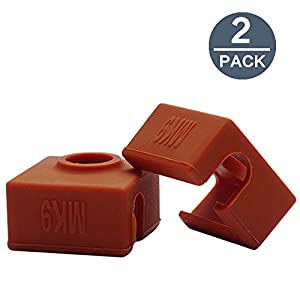 2 PACK ILamourCar 3D Printer Heater Block Silicone Cover MK7/MK8/MK9 Hotend For Creality CR-10,10S,S4,S5 Anet A8.Silicone Socks Cover Heating Insulation Case 280℃ High-temperature Resistant 10