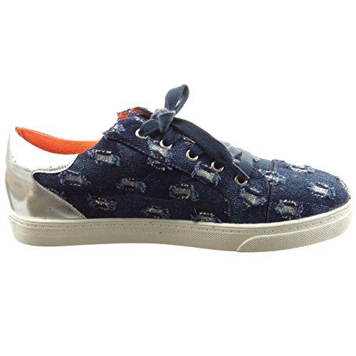Sopily - damen Mode Schuhe Sneaker Slip-On glänzende Linien - Blau