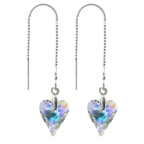(Sterling Silver Thread Swarovski Elements Crystal Aurora Borealis Wild Heart Dangle Earrings)
