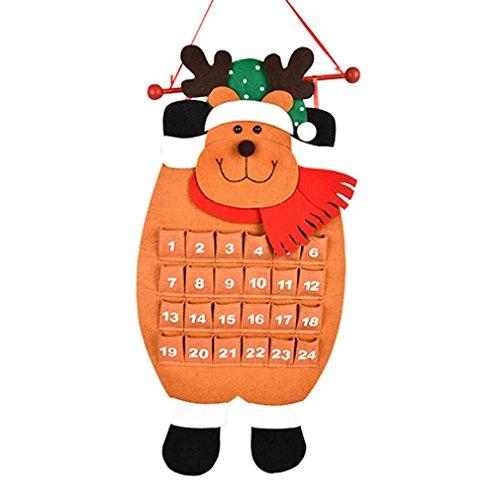 Home Décor Usstore 1PC Snow Man Deer Calendar Advent Countdown Calendar Art Decoration For Bedroom living bathroom House Office Windows Decor Ornament (Khaki)