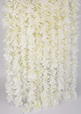 LUSHIDI 32.8Ft Artificial Silk Wisteria Vine Hanging Flowers Garland Home Outdoor Wedding Arch Garden Wall Decor,Pack of 10