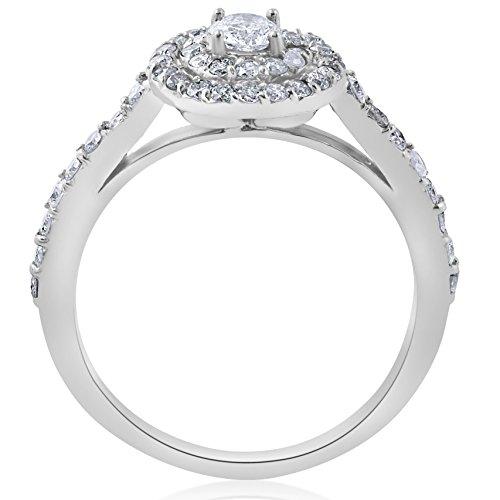 3/4ct Double Halo Round Diamond Engagement Ring 10K White Gold