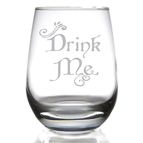 Drink Me Alice In Wonderland Inspired 15 Ounce Stemless Wine Glass