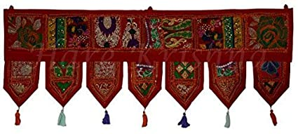 Hare Krishna Modern Ethnic Door Hanging New Year Gifts Toran Embroidered Patchwork Window Valence Tapestry 39 x 16 Inches