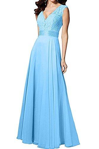 Lang Promkleider Blau La Neu Abendkleider Braut Hell Kleider Ballkleider mit mia Spitze Blau Jugendweihe Figurbetont 2018 xwazE