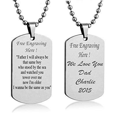 5a0523682c9a1 Streetsoul Silver Stainless Steel Personalized Engraved Army Tag Necklace  for Men and Women