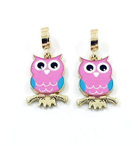 - 2pcs Cute Owl European Gold Pendant CZ Charm Beads Fit Necklace Bracelet DIY
