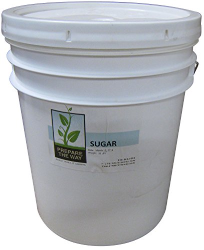Sugar White Granulated - NON GMO & Gluten Free for cookies, sweets, cakes, bread, baking - Kept in 5 Gallon Buckets - Emergency Storage, Preparedness Preppers, Bulk Food Survival & - Store Buy Maui Best