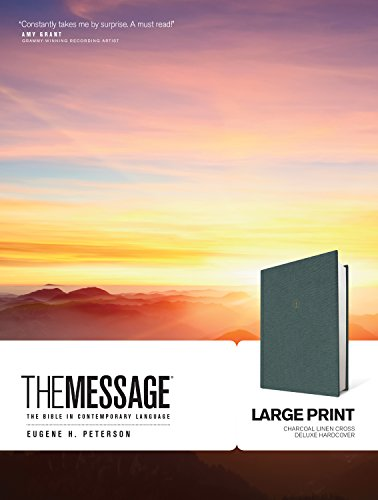 The Message Large Print (Hardcover Deluxe, Charcoal Linen Cross): The Bible in Contemporary Language