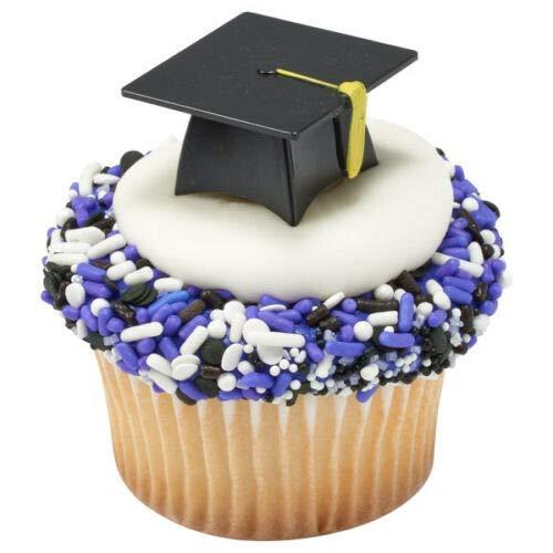 12 Black 3D Graduation Cap Hat Cupcake Picks Cake Candy Cookie Pop Decorations]()