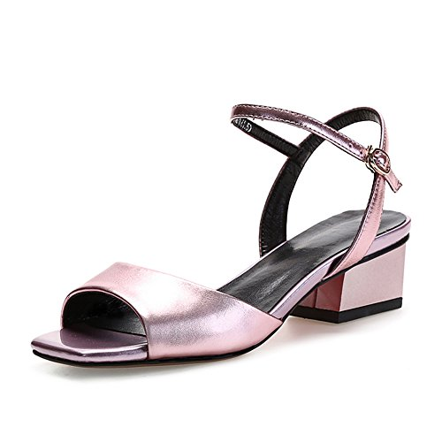 Sandals ZCJB Middle Heel Woman Summer Leather Hollow Shoes Rose Gold dIyxz