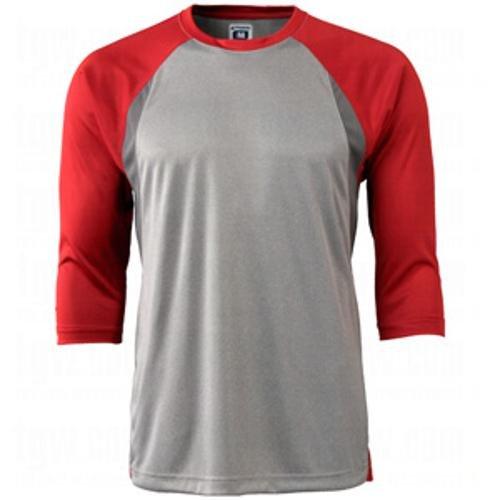 CHAMPRO Extra Innings 3/4 Sleeve Baseball Shirt; L; Grey, Scarlet Sleeve; Adult Extra Innings 3/4 Sleeve Baseball T Shirt