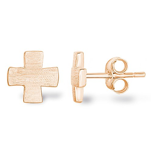 14k Rose Gold Plated 925 Sterling Silver Matte Finish Brushed Texture Plain Greek Cross Stud Earrings -