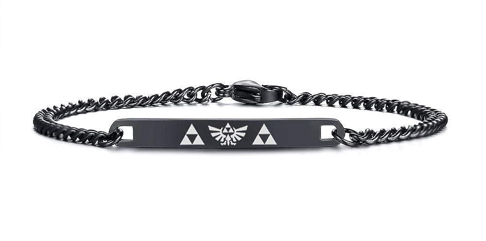 VNOX Legend of Zelda Tri-Force Symbol 7MM Stainless Steel Thin ID Link Bracelet, Silver/Black/Gold Plated VNOX Jewelry CB-027BSET+Zelda