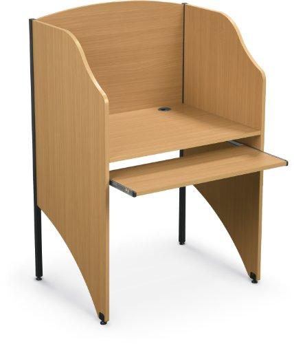 Balt Standard Floor Carrel Private Workstation, Starter Unit, Teak (89830) ()