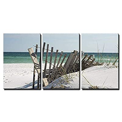 3 Piece Canvas Wall Art - Beach Fence Near Pensacola Beach, Florida. - Modern Home Art Stretched and Framed Ready to Hang - 16