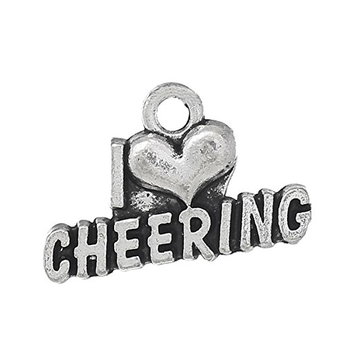 Cheerleading - Cheer and School Spirit Silver Tone Charms (30 Pc Cheering) -
