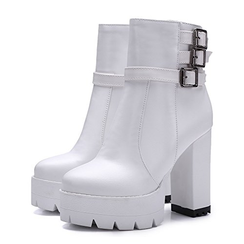 Pu High White Boots Women's Allhqfashion Closed Round Solid Zipper Heels Toe TEPnxBZwq