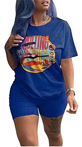 Women Sexy 2 Piece Outfit Short Sleeve Cartoon Print T-Shirts Bodycon Shorts Set Jumpsuit -